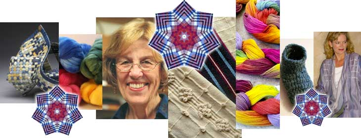 Collage of basket, fiber, Madelyn van der Hoogt, samples warp, naalbinding, handwoven clothing--Welcome to MAFA 2017--A Kaleidoscope of Possibilities!